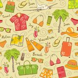Beach vacation seamless vector pattern. Colorful summer travel background Stock Photo