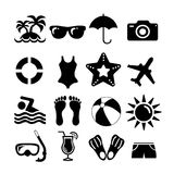 Beach and vacation set icon collection Royalty Free Stock Images
