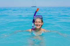Beach vacation snorkel girl snorkeling royalty free stock photos