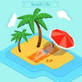 Beach Vacation. Summer Time. Tropical Vacation. Exotic Island Stock Images