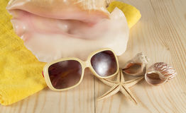 Beach vacation. Sunglasses,  towel, sea shell on wooden background Stock Photo