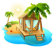 Beach vacation. Thatched hut bungalow on tropical island Royalty Free Stock Photography