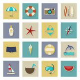 Beach vacation and travel flat icons set with shadows Stock Photo