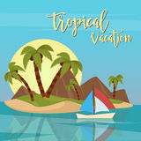 Beach Vacation Tropical Paradise. Exotic Island with Palm Trees Royalty Free Stock Image
