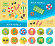 Beach Vacation Vector Concept in Flat Style Design Stock Image