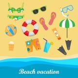 Beach Vacation Vector Concept in Flat Style Design Stock Photos