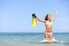 Beach vacation woman excited and happy snorkeling Stock Photo