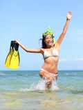 Beach vacation woman happy snorkeling Royalty Free Stock Image