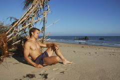 Beach vagabond castaway Royalty Free Stock Photography