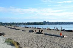 Beach in Vancouver. People relaxing at a beach in Vancouver Stock Photo