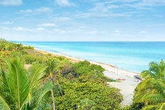 The beach of Varadero in Cuba on sunny summer day Stock Photo