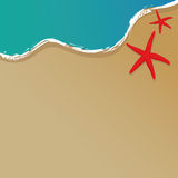 The beach vector. Summer background with sand beach, sea and two starfishes + vector file Stock Image