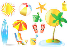 Beach vector. A colorful vector of beach and related objects Stock Image