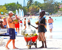 Beach vendor in Antigua. Beach vendor selling coconuts on an exclusive beach in Antigua, Caribbean.  Many holiday destinations suffering from fewer bookings due Royalty Free Stock Photo