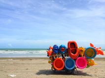 Beach vendor selling inflatable toys on the beach Royalty Free Stock Photography