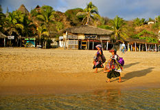 Native zapotec beach vendors, Mexico Royalty Free Stock Image