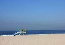 Beach of Venice, California, USA. This picture has been taken in Venice, on a clear morning after the lifeguard towers have been restored Stock Photo
