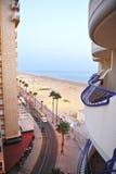 The beach of Victoria at sunset, Costa de la Luz, Cadiz, Andalusia, Spain Royalty Free Stock Photos