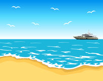 Beach view. Beautiful beach view with luxury yacht and gulls Stock Photos