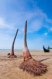 Beach View. Resting Sampan boat in Saint Martyn Island Royalty Free Stock Photography