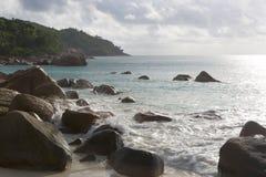 Beach view at Anse Lazio, Praslin island, Seychelles Stock Photo