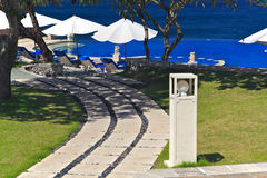Beach View from the Balcony. Of a luxury hotel in Bali Island Royalty Free Stock Photography