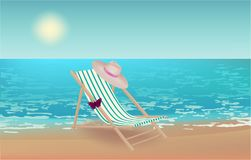 Beach View, Beach Chair hat red butterfly stock photo