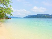 Beach view. Blue sky and white sand beach  in Thailand Stock Photo