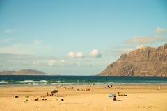 Beach view at Caleta de Famara Royalty Free Stock Image