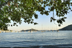 Beach view in Fethiye, Turkey, Beautiful beach scene and fishing boat.  Royalty Free Stock Images