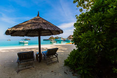 Beach view at Four Seasons Resort Maldives at Kuda Huraa Royalty Free Stock Photo