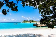 Beach view at Four Seasons Resort Maldives at Kuda Huraa Royalty Free Stock Photography