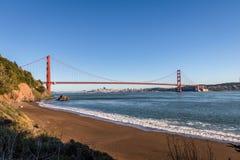 Beach view of Golden Gate Bridge and city Skyline - San Francisco, California, USA Stock Photos