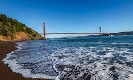Beach view of Golden Gate Bridge and city Skyline - San Francisco, California, USA Royalty Free Stock Photos