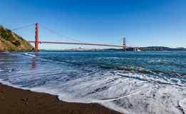 Beach view of Golden Gate Bridge and city Skyline - San Francisco, California, USA Stock Photo