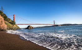 Beach view of Golden Gate Bridge and city Skyline - San Francisco, California, USA Royalty Free Stock Photo
