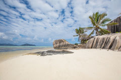 Beach view on an island of La Digue in Seychelles. Royalty Free Stock Images