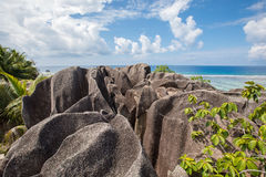 Beach view on an island of La Digue in Seychelles. Royalty Free Stock Image