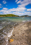 Beach and view of islands in Frenchman Bay, Bar Harbor, Maine. Stock Photography