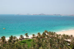 Beach with a view on Jumeirah Palm man-made island Stock Image