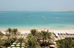 Beach with a view on Jumeirah Palm man-made island Royalty Free Stock Photos