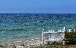 View of Mackinaw bridge from Mackinaw Island royalty free stock photography