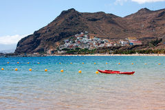 Beach view with mountain tawn on background. Tenerife. Spain Royalty Free Stock Images