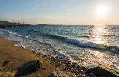 Beach. View of mykonos beach at the sunset. Near the old port Royalty Free Stock Image
