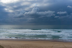 Beach view with ocean and stormy sky Stock Photography