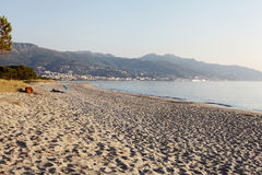 Beach with view over to the city Bastia - Corsica Royalty Free Stock Photos