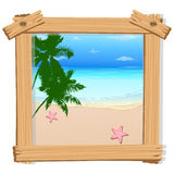 Beach view in photo frame Royalty Free Stock Images