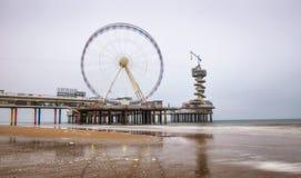Beach view on the Pier in Scheveningen near Hague, Netherlands Royalty Free Stock Image