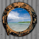 Beach view port hole. Stock Images