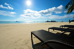 Beach view with recliner in Boracay Stock Photo